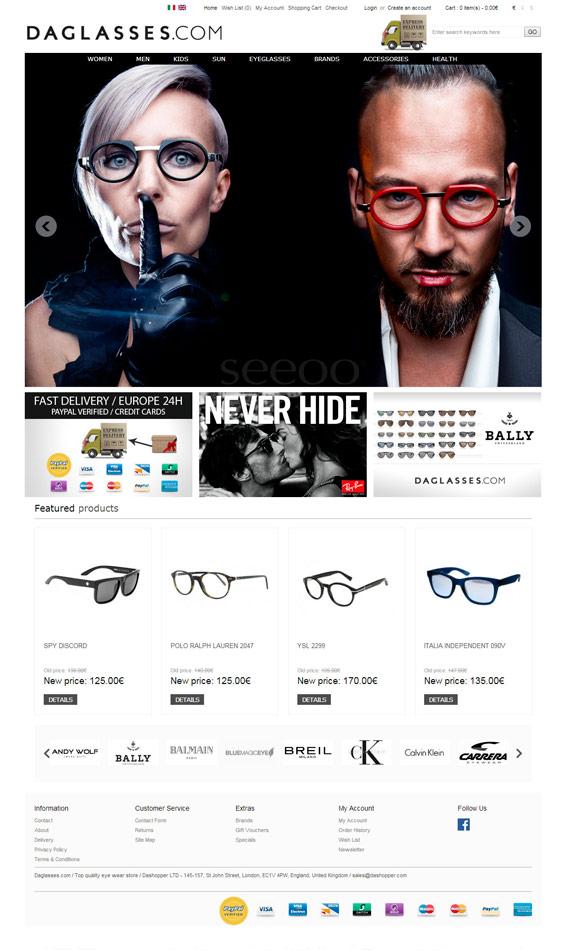 Daglasses / eCommerce website / 2013